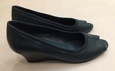 """Clothing, Shoes & Accessories New Women's Easy Spirit Peep Toe Wedge """"operettas"""" Peacock Blue 7.5m Relieving Heat And Thirst. Women's Shoes"""