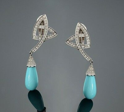 Spectacular 18K White Gold Turquoise Diamond Briolette Earrings $ 8760 Appraisal