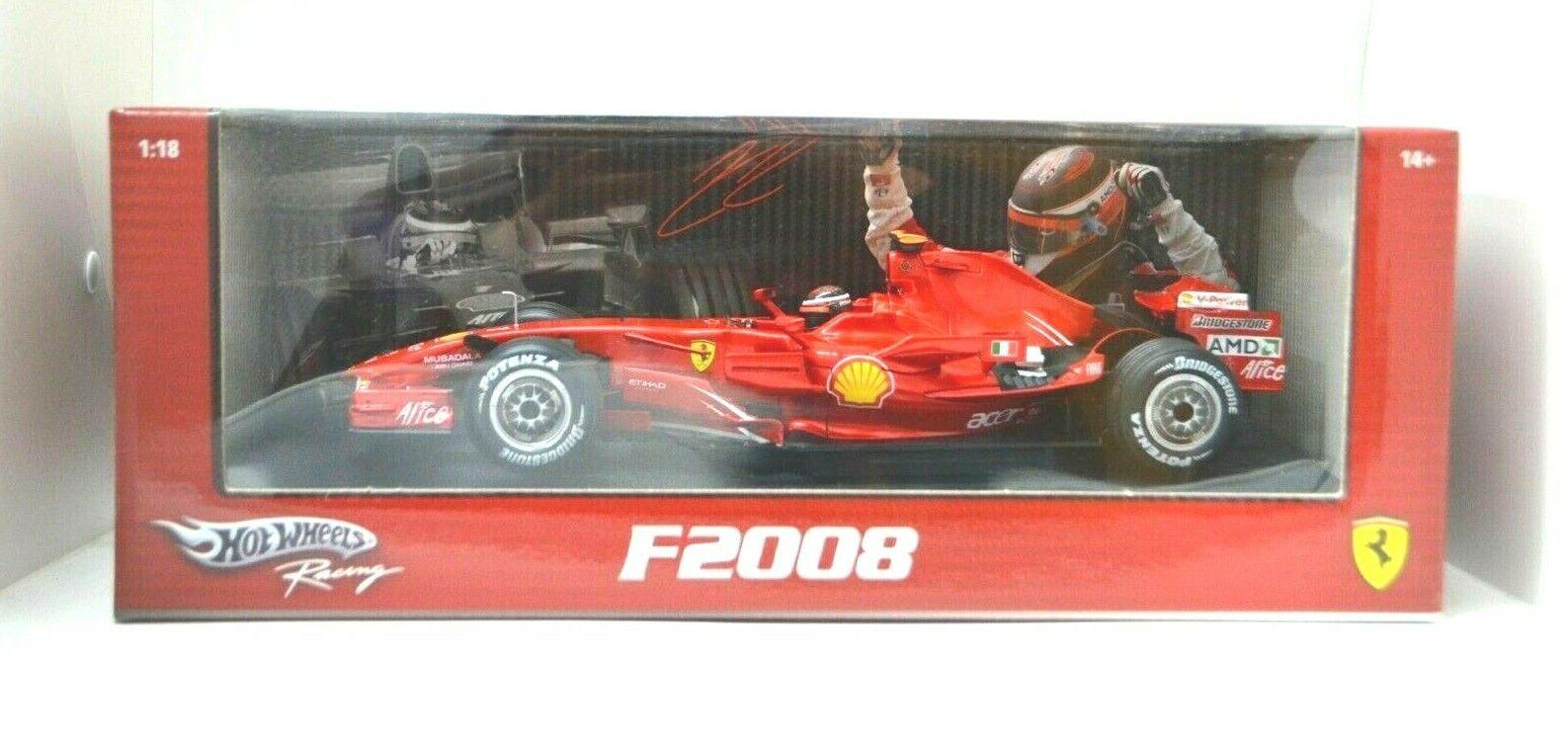 1 18 Scale Ferrari F1 F2008 Kimi Raikkonen Red Diecast Hotwheels Racing