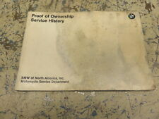 BMW PROOF OF OWNERSHIP SERVICE HISTORY MANUAL