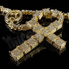 14k Gold Canary CZ Iced out Rosary Square Jesus Cross Pendant Men Necklace Chain