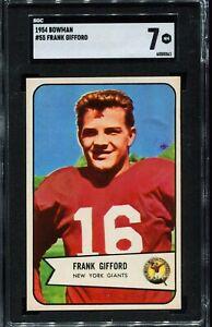 1954-Bowman-Football-55-FRANK-GIFFORD-New-York-Giants-SGC-84-NM-7