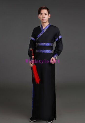 Ancient Swordsman Clothing Chinese Style Men Hanfu Scholar Cosplay Stage Costume
