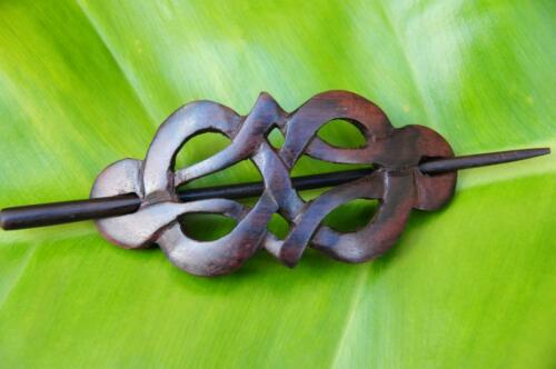 Carved wooden CELTIC style HAIR PIN BARRETTE CLIP CLASP SLIDE new handmade wood