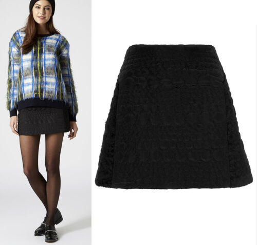 TOPSHOP NEW Contrast Panel High Waisted Mini Skirt in Black