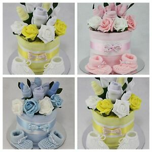 Baby boy girl unisex clothes flower bouquet nappy cake new born shower gift ebay - Gateau de couche baby shower ...
