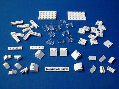 Lego Lot 50 White Parts /& Clear Translucent 1x2 Bricks Winter Christmas Snow Ice