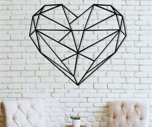 Details About Metal Wall Art Geometric Heart Decor Bedroom Decoration Love Gift
