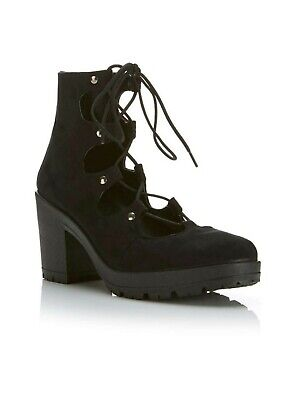 Miss Selfridge Ariel Ghillie Tie Ankle Boots Black Uk 7 Eu 40 Ln096 Kk 06