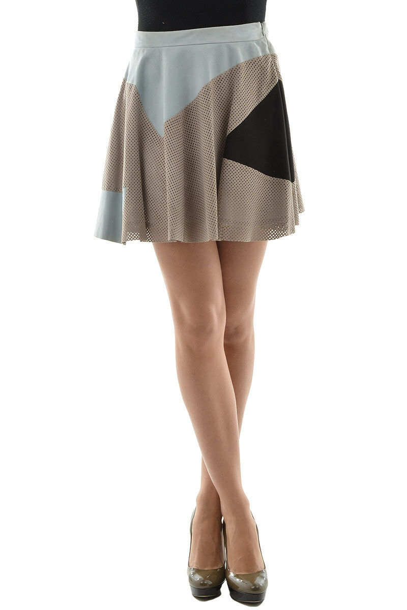 DROMe New Woman Mesh Suede Leather Mini flared Bubble Skirt Size S  Pleated