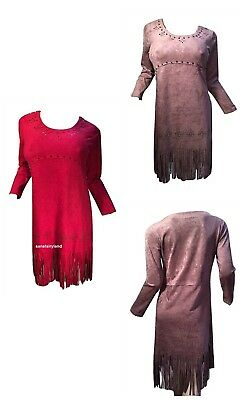 Pretty Angel Size S M Microsuede Dress with Fringe  & Studs BOHO 10887