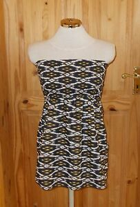 Bianco spalline Holiday Boobtube Aztec 10 F Senza Stretch Beach Top Nero 38 f Giallo Hx0anZUqE