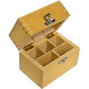 NEW-Wood-Storage-Box-4-Gold-Silver-Testing-Acid-Test-Kit-Stones-amp-Tester-Bottles