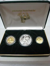 1994 CHINA PRESTIGE PANDA PROOF SET,  BI METALLIC,GOLD,SILVER, COA,  RARE SET