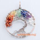 1pc Unisex Round Mix 7 Chakra Healing Gems Tree of Life Chip Beads Pendant Gift