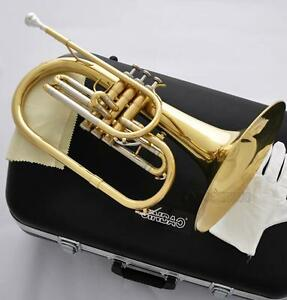 Professional-Gold-Lacquer-Marching-Mellophone-horn-F-Key-With-Case-Free-Ship