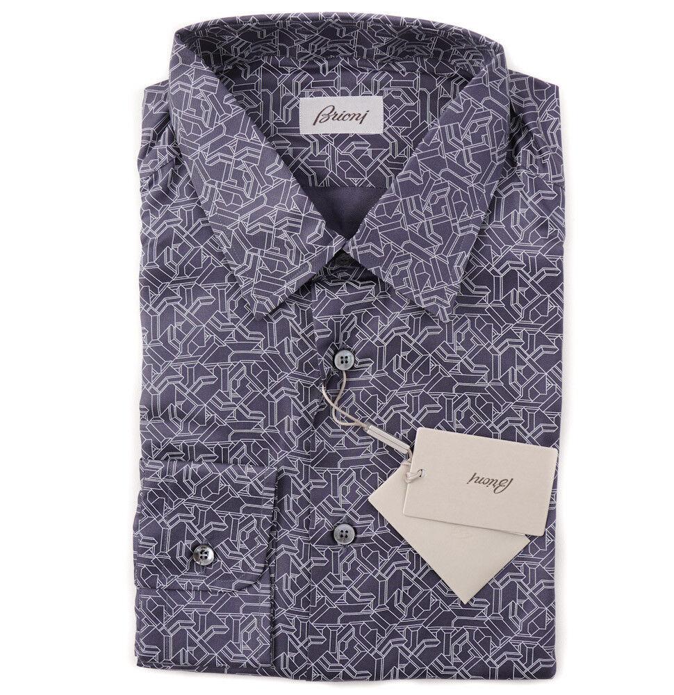 NWT  BRIONI Navy bluee Silk Dress Shirt with Geometric Printed Design M