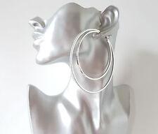 Gorgeous 9cm DOUBLE SILVER TONE thin square tube BIG glitter edge hoop earrings