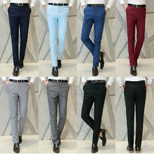 New Fashion Men S Soft Formal Business Pants Slim Fit Straight Suits