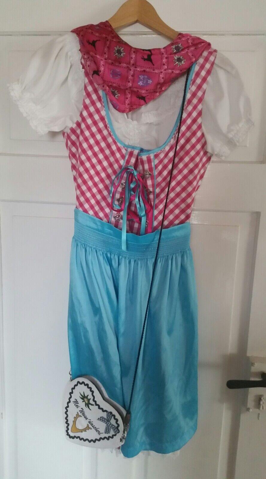 Damen Dirndl Gr. S S S 36 Rosa weiß kariert, blau + Blause, Tasche & Tuch    Praktisch Und Wirtschaftlich    Tragen-wider    Vorzugspreis  20f449