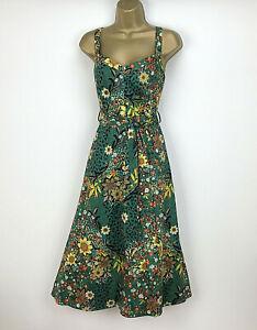 Marks-and-Spencer-Vestido-Talla-14-Verde-Floral-Patinadora-Midi-Vacaciones-de-Verano-Algodon