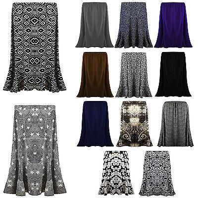 2019 Mode New Ladies Womens Long Gypsy Skirt Maxi Plus Elastic Waist Jersey Dress Uk 12-22