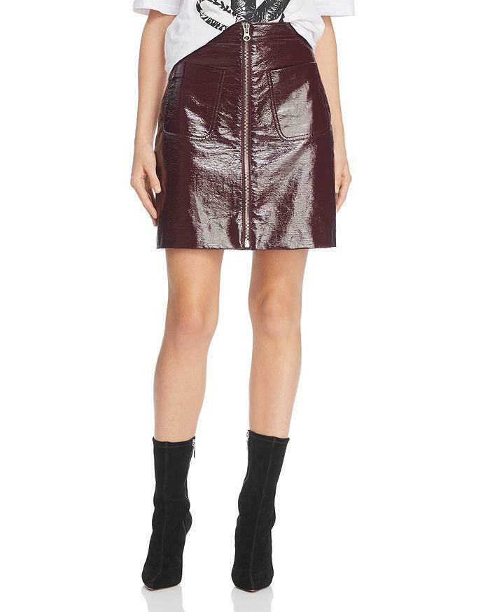 NWOT McQ Burgundy Coated Cotton Full Front Zipper Mini Skirt Size 36 US 0