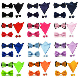 Mens-Solid-Stain-Pre-tied-Tuxedo-Bow-Tie-Cufflinks-Pocket-Square-Hanky-Set
