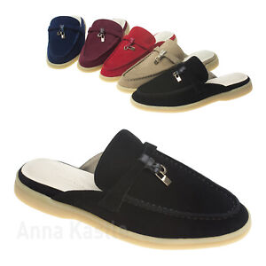 bb2a3fcce47 Image is loading AnnaKastle-Womens-Classic-Suede-Leather-Walk-Backless- Loafer-