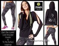 Zumba 2pc.set Cold Shoulder Hoodie Jersey Jumper Jacket+tri Me Perfect Leggings