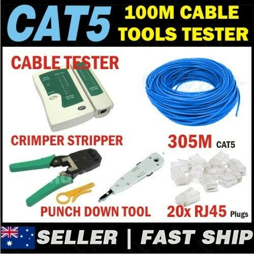 1 x 305m BLUE Cat 5 Cat5e 1000Mbps RJ11 RJ45 Network LAN Cable + Tools + Tester