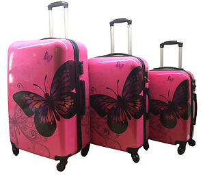 Hard-Shell-4Wheel-Suitcase-PC-Luggage-Trolley-Case-Cabin-Hand-Butterfly-Rose