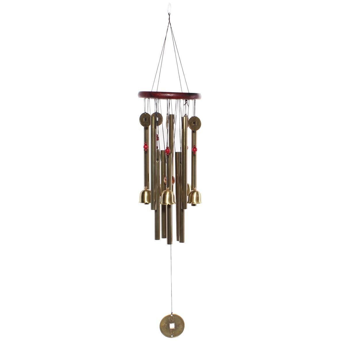 us large copper coin wind chime windchime bell yard garden. Black Bedroom Furniture Sets. Home Design Ideas