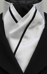 Ready Tied Brilliant White and Black Faux Silk Dressage Riding Stock  Show Tie - Ammanford, Carmarthenshire, United Kingdom - Returns accepted Most purchases from business sellers are protected by the Consumer Contract Regulations 2013 which give you the right to cancel the purchase within 14 days after the day you receive the item. F - Ammanford, Carmarthenshire, United Kingdom