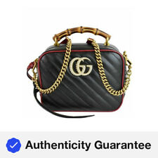 GUCCI GG Marmont Small Bamboo Leather Shoulder Bag Black 602270