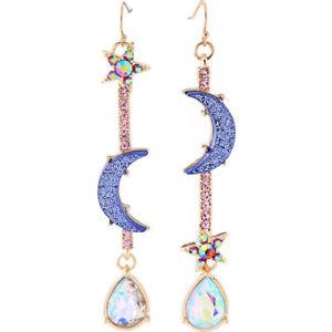 Beautiful-Fashion-Jewelry-Blue-Crystal-Moon-amp-Star-Earrings-Drop-Dangle-Earrings
