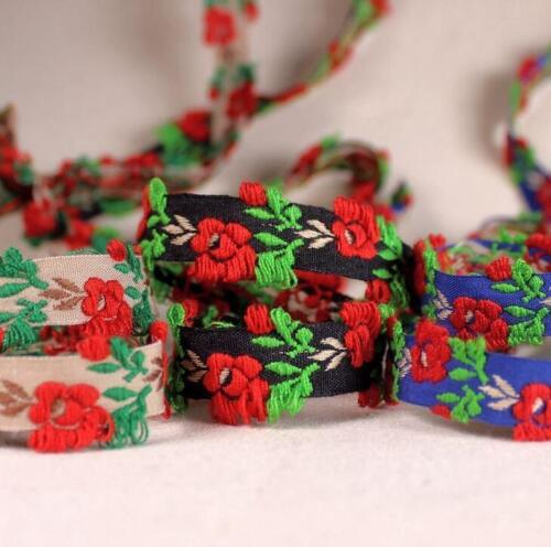 Vintage Bordado Encaje Cinta Ribete Decorativa Hágalo usted mismo Flores Manualidades Ropa 1.5 Cm