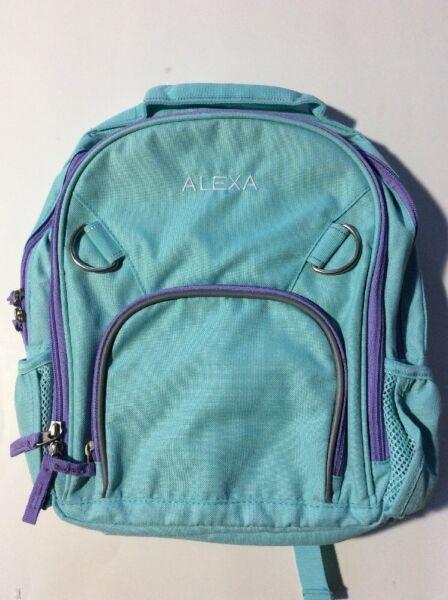 Pottery Barn Kids Small Fairfax Aqua Purple Backpack name ALEXA New 8507a3a180