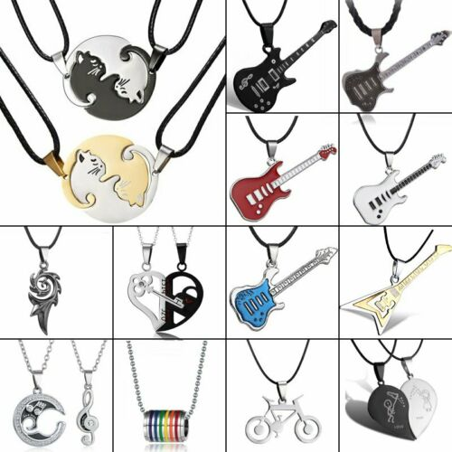 Chic Stainless Steel Heart Love Animal Guitar Cat Pendant Necklace Friend Gift