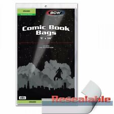 100 Clear Poly Storage Bags for CGC PGX and CBCS Graded Comic Books 2 mil New!