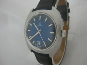 NOS NEW SWISS MECHANICAL HAND WINDING REVUE MENS ANALOG WATCH WITH DATE 1960'S