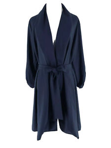 Pinkblush Women's Dark Blue Tied Waist Long Sleeve Overcoat Size Large NEW