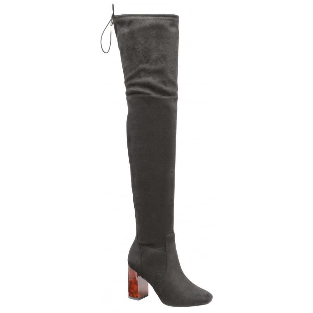 DOLCIS ELANA OVER KNEE HIGH BOOTS STRETCHY BLACK MEMORY FOAM UK 7