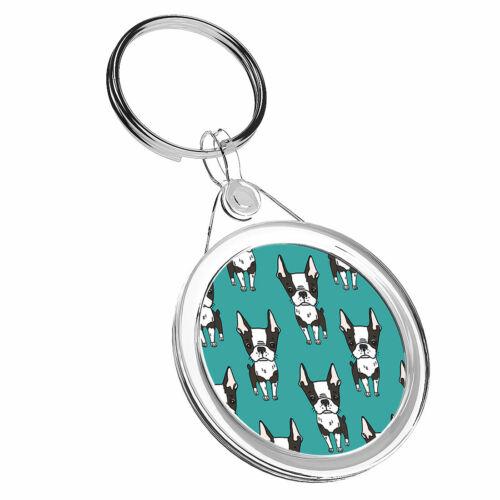 1 x Boston Terrier Pattern-Porte-clés IR02 Maman Papa Enfants Anniversaire Cadeau #16613