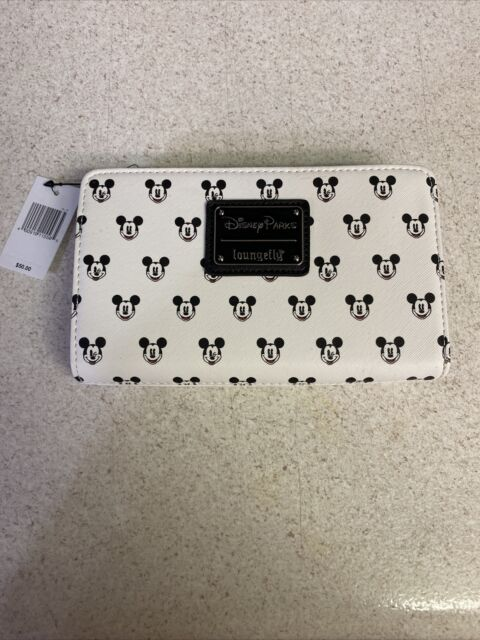 NEW Disney Parks Mickey Faces Loungefly Zipper Wallet Credit Card Clutch