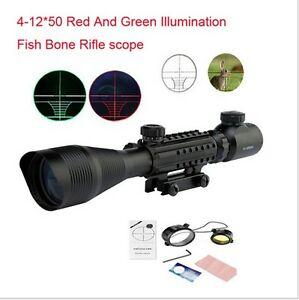 Hunting 4-12X50EG Rifle Scope Red Green Dual illuminated w// Side Rails /& Mount