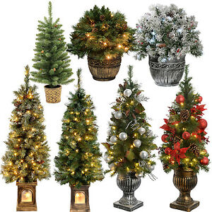 2ft 3ft 4ft Pre-Lit Pine Christmas Tree Warm White LED Lights ...