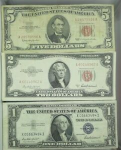 PAPER-MONEY-ESTATE-LOT-1-BLUE-SEAL-2-AND-5-RED-SEAL-Collection-of-Old-Bills