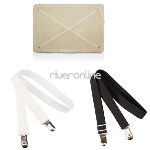 2PCS 1.5M Bed Mattress Sheet Clips Grippers Straps Suspenders Fasteners Holders