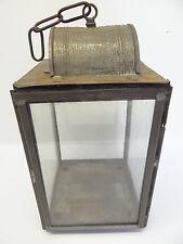Vintage Used Metal Glass Pane Large Hanging Barn Lantern Body Lamp Old